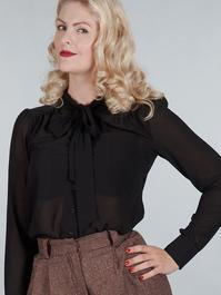 The sassy secretary blouse. Black chiffon