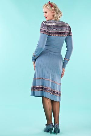 the Fair Isle knit dress. dusty blue