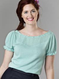 the señorita knit top. mint blue