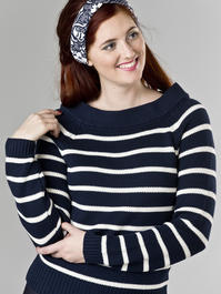the Bardot boatneck. navy stripe