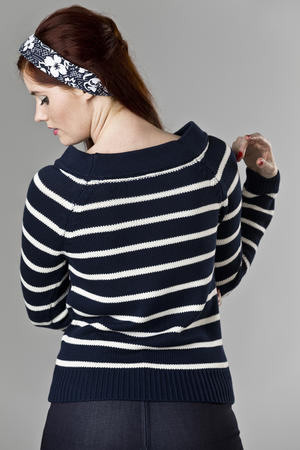 the Bardot boatneck. navy stripe