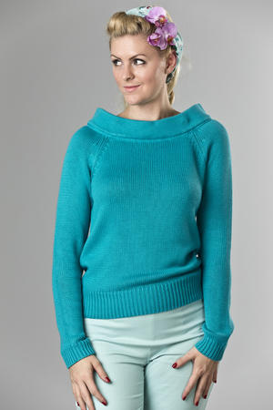 the Bardot boatneck. turquoise