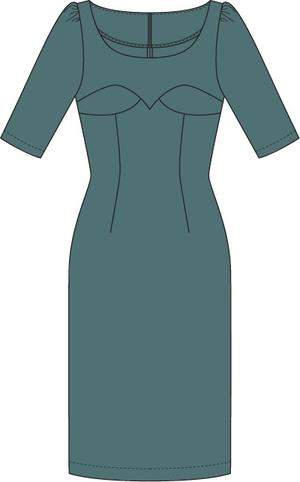 the golden days wiggle dress. dusty blue twill