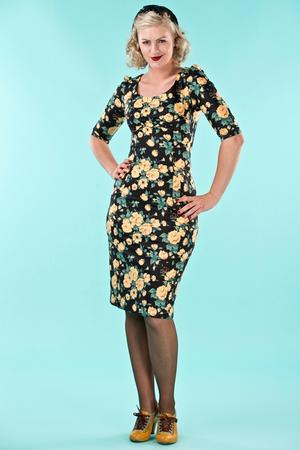 the golden days wiggle dress. yellow roses