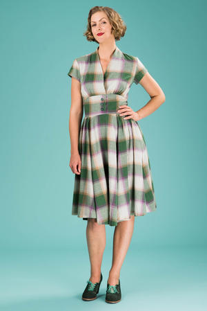 the rock around the clock dress. violet/green - minty!