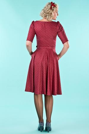 the sweetheart swing dress. wine dots