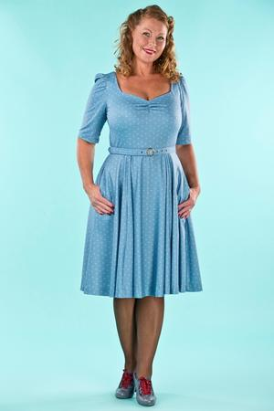 the sweetheart swing dress. dusty blue dots