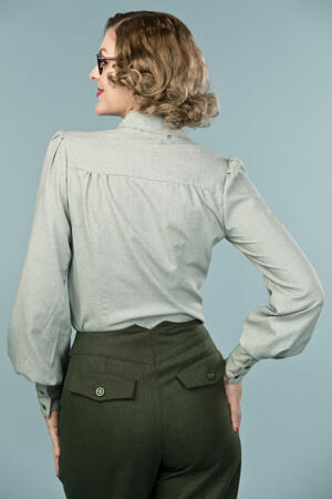 the busy bow blouse. deep forest chambray