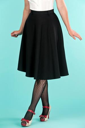 the jazzy A-line skirt. black jacquard