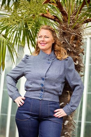 Amelia's aviator jacket. navy weave