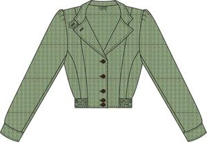 Amelia's aviator jacket. blue/green/brown