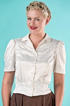 the Hollywood Boulevard blouse. cream satin