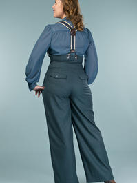 the miss fancy pants slacks. teal combed twill