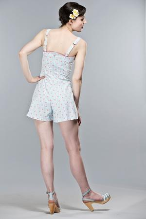 the beach beauty playsuit. Sky blue, stripes and drinks
