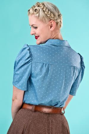the Hollywood Boulevard blouse. blue dots