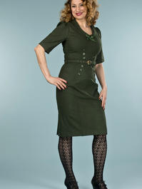 the boss lady dress. deep forest combed twill