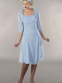 the glory of the past chiffon dress. blue/gray