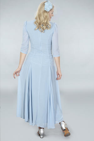 the glory of the past gown. blue/gray chiffon