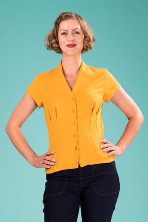 the be my baby blouse. mustard weave