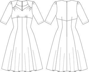 the swirly sweetheart dress. melanged black bouclé
