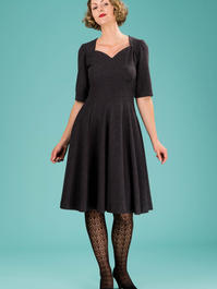 the swirly sweetheart dress. melanged black bouclé
