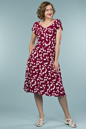 the true thirties dress. tulips in wine