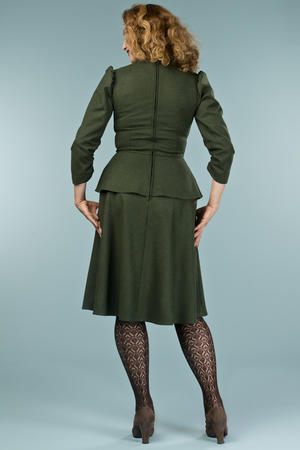 the double trouble dress. deep forest combed twill