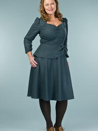 the double trouble dress. teal combed twill