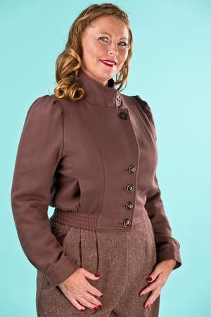 Amelia's aviator jacket. brown