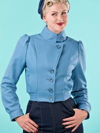 Amelia's aviator jacket. dusty blue