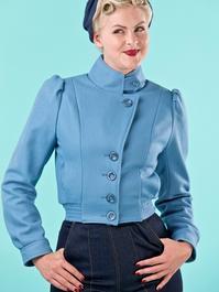 Amelia's aviator jacket. dusty blue