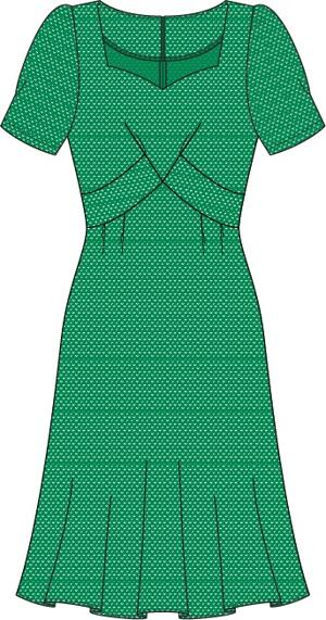 the tasteful teatime dress. emerald dots