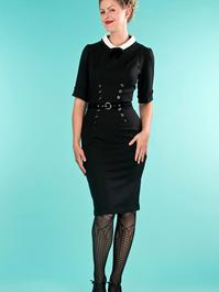 the boss-lady dress. black jacquard