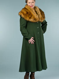 the old Hollywood princess coat. deep forest pure wool