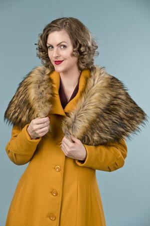 the old Hollywood princess coat. mustard pure wool