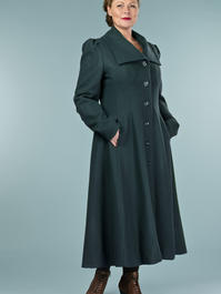 the old Hollywood princess coat. teal pure wool