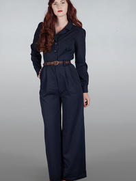 The feminine flair jumpsuit. Dark navy twill