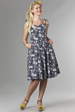 the Malibu Beach dress. navy flowers