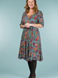 the swirly sweetheart dress. pine cones print