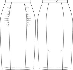 The curvy wiggle skirt. Lipstick red bengaline