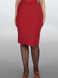 The curvy wiggle skirt. Lipstick red bengaline