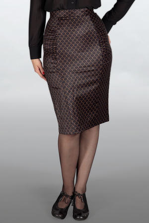 The curvy wiggle skirt. Black with golden scales