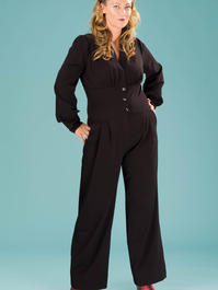 the miss fancy pants jumpsuit. black bengaline
