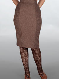 The curvy wiggle skirt. Brown salt & pepper