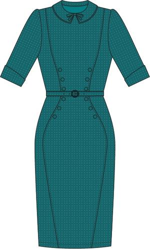 the boss-lady dress. petroleum jacquard