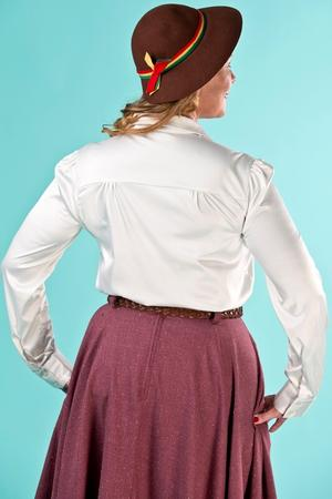 the lovely librarian blouse. cream satin