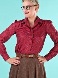 the lovely librarian blouse. wine dots