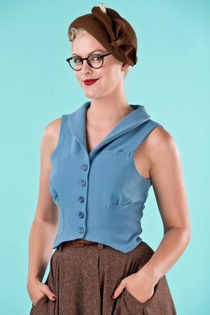 the miss fancy pants waistcoat. dusty blue twill