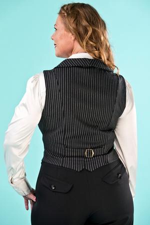 the miss fancy pants waistcoat. black pinstripe