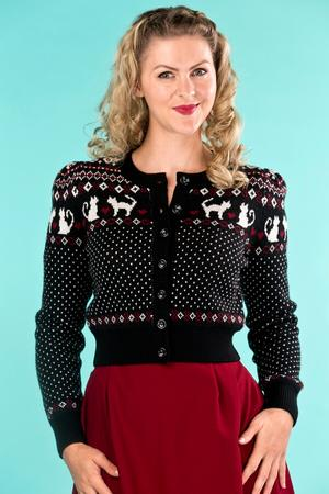 the purrfect cardigan. black/cream/wine